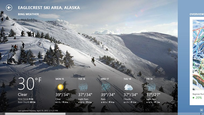 See the snow conditions and base depth for ski resorts.