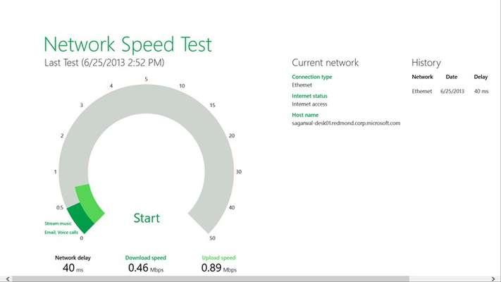 1.	Press start and then wait for the speed tests to finish.
