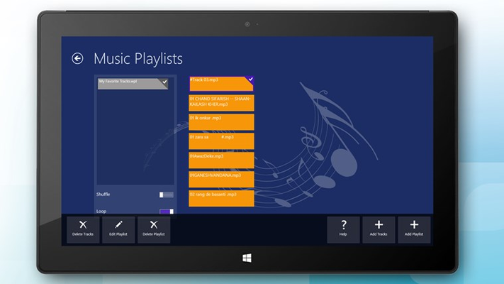 Add, edit and delete playlists and music tracks for the media player (graphically enhanced)