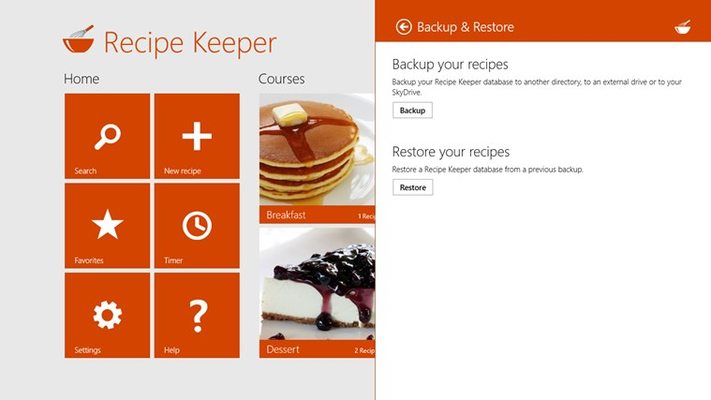 Backup & restore your recipes to an external drive or your SkyDrive
