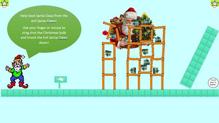 Throw the Christmas Bulbs to save Santa Claus