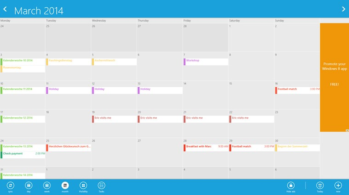 Month-View with App-Bar