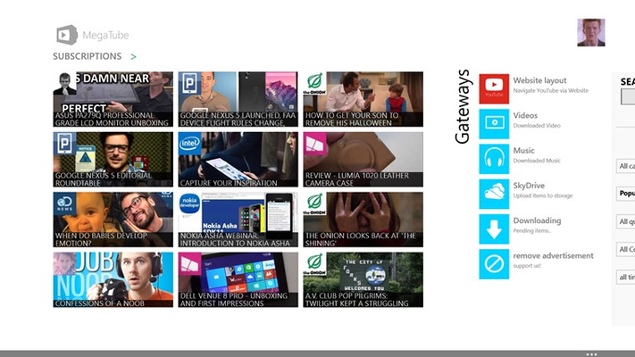 MegaTube for YouTube Player/Downloader for Windows 8