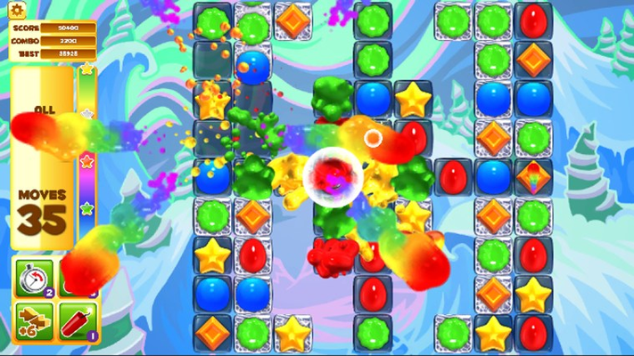 Use HUGE power up jellies to push your way through each level