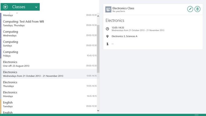The classes screen