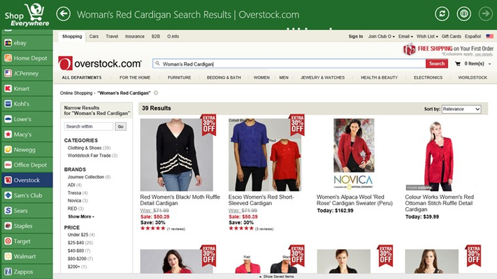 Finally we end our shopping experience at Overstock.com.