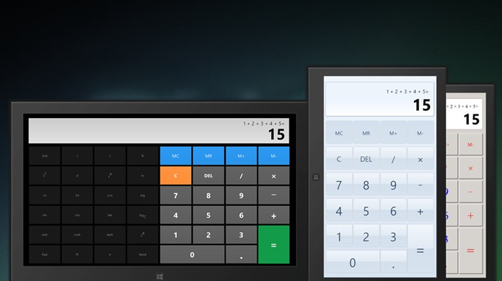 Scientific and basic calculator with 3 different themes