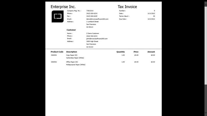 Preview Invoice