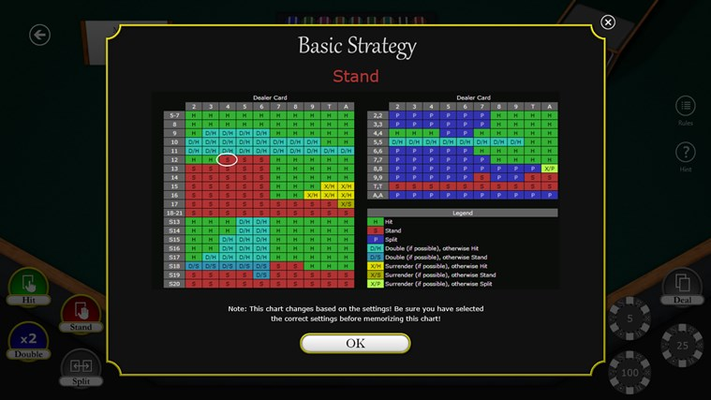 Not sure what to do? A basic strategy chart is always available with the correct move highlighted.