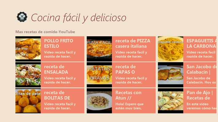Cocina facil y delicioso for windows 8 and 8 1 for Cocina facil y rapida