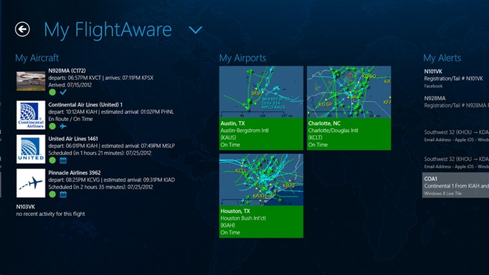 Save your favorite aircraft and airports for convenient access later.