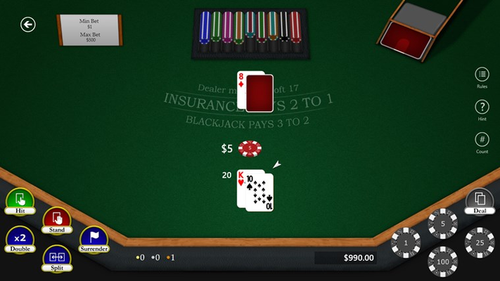 View of a typical hand in Blackjack Master 3.