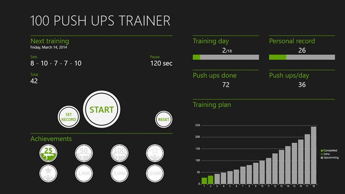 Main page of the app where you can see info about the next training, statistics and achievements.