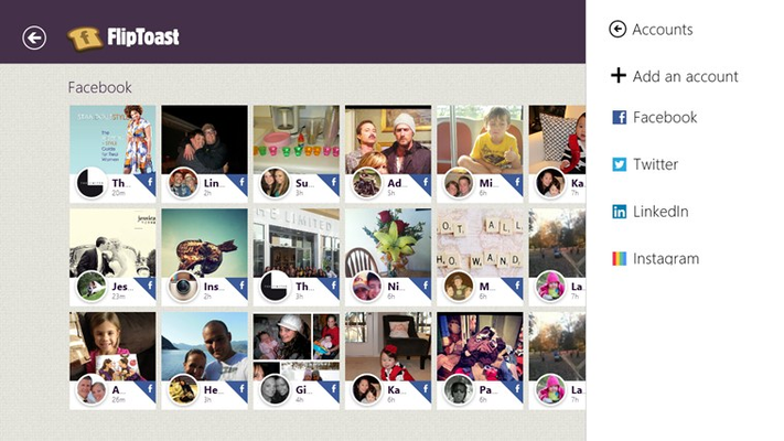 Add your Facebook, LinkedIn, Twitter and Instagram accounts for a complete social networking experience without having to jump between 4 different apps to keep up with what your friends are doing