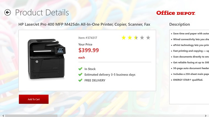 Customers can view the details of a product on sale, including description, ratings, reviews, and whether the item is in stock.