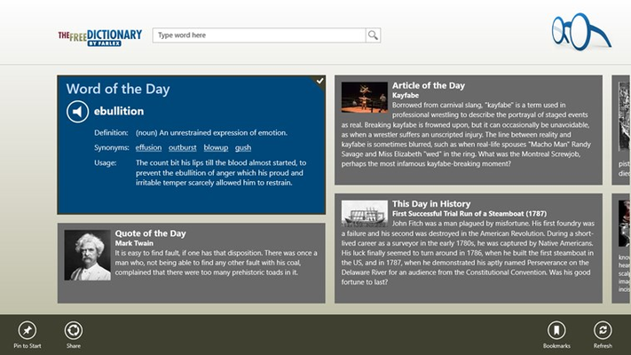 Learn something new with fresh daily content, including Word of the Day, This Day in History, Quote of the Day, Today's Birthday and more. Share your favorite words, articles and even homepage items.