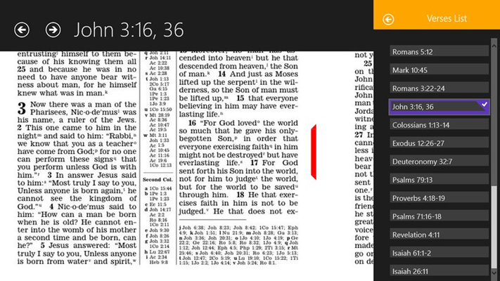Reading the Bible as printed edition. Verses list from a publication (The Watchtower) is on the right