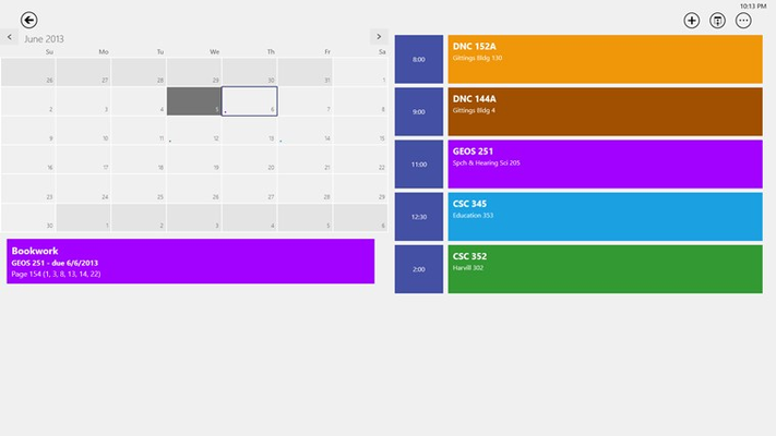 Detailed day view, displaying your class schedule and assignments.