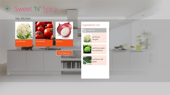 MyKitchen page where you can search for recipes with the ingredients u have