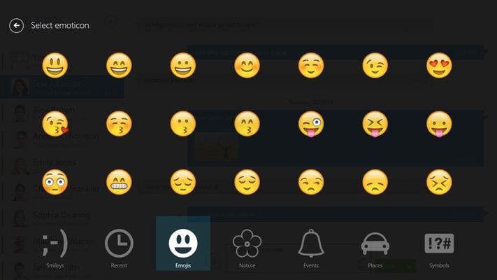 Add amazing emoticons to your texts and show your friends how you feel.