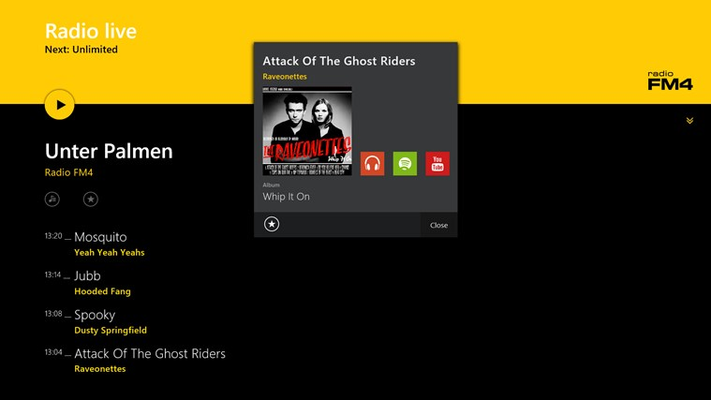 Direct links to Xbox Music, Spotify and Youtube