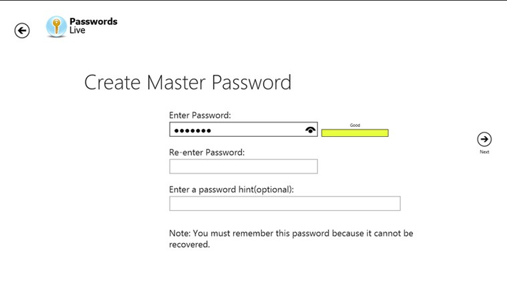 Create a master password and hint to access all your passwords
