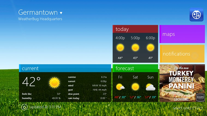 Homescreen features at-a-glance views of all your weather information with dynamic weather theme backgrounds that match the current conditions of your saved location.