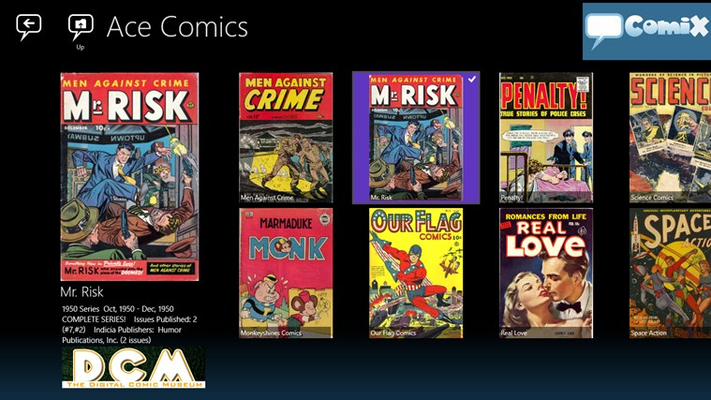 Browsing Digital Comics Museum publisher collection