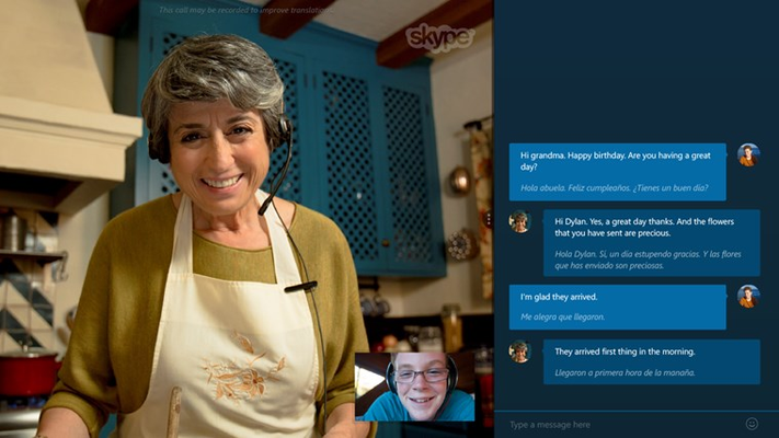 Enjoy a Skype Translator video call with a collapsible transcript window.