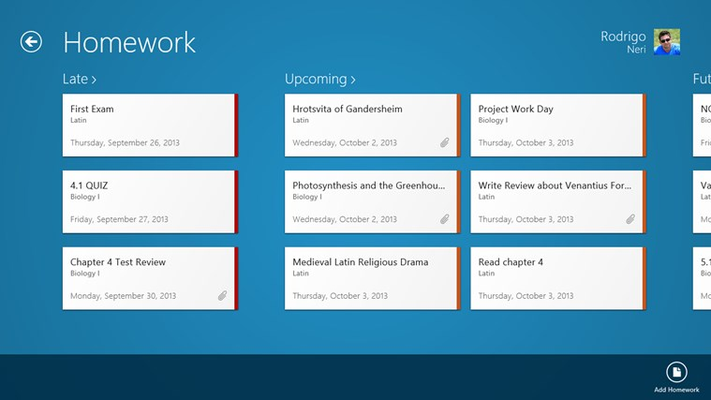 Homework view grouped by Late, Upcoming, Future and Complete