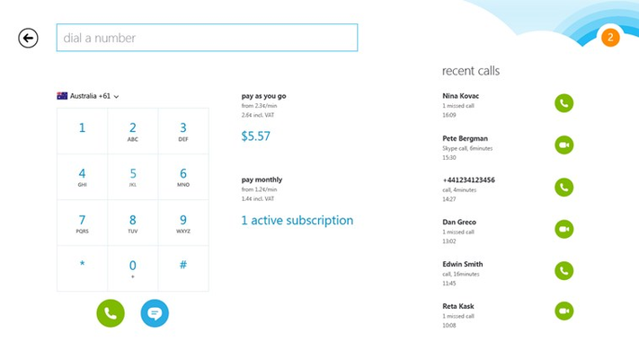 Call any phone quickly and easily from Skype.