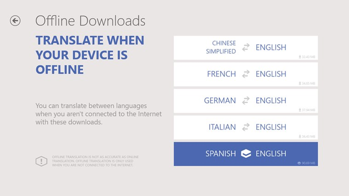 Offline translation – Translate when you are not connected to the Internet and when you want to avoid expensive data roaming charges by using downloadable offline language packs.