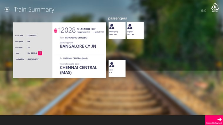 IRCTC Official for Windows 8