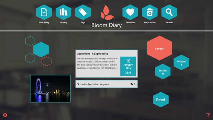 Bloom Diary home screen