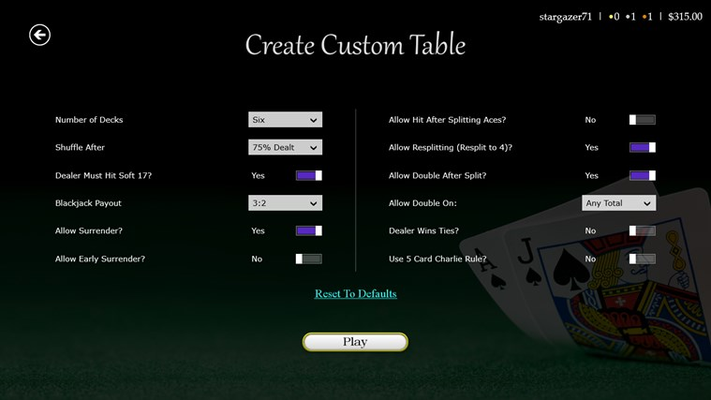 Don't like the rules? Create your own practice table with any combination of rules.