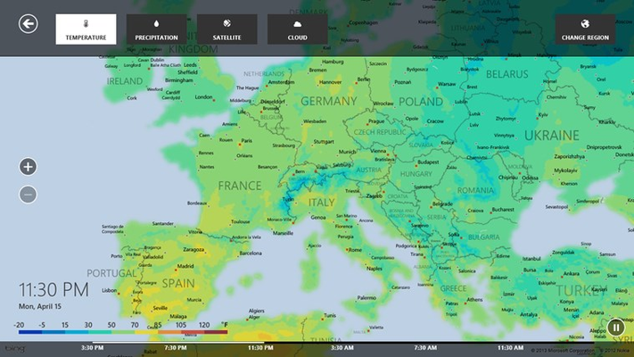 View detailed temperature, precipitation, cloud, radar, satellite maps