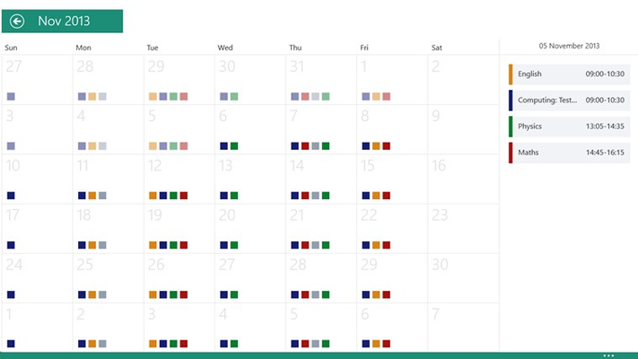 The calendar month view