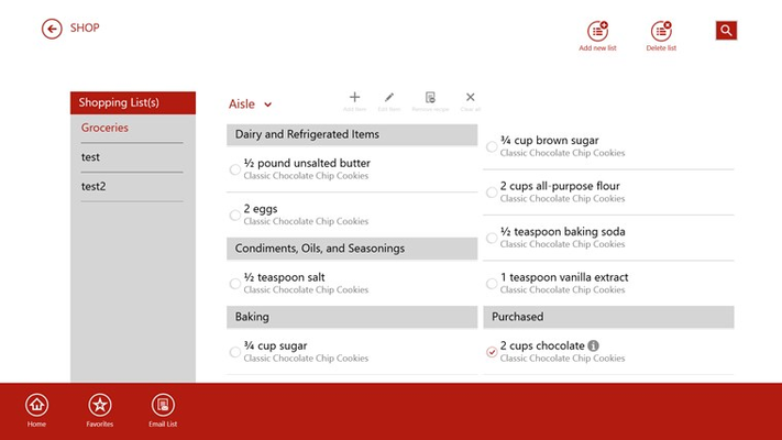 Customizable shopping list feature, email and share