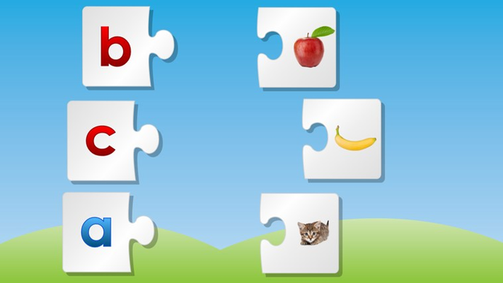 Puzzle match letters with images