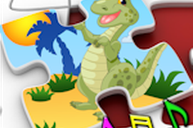 Kids Dinosaur Rex Jigsaw Puzzles - educational shape and matching children's game suitable for toddler and young pre school boys and girls