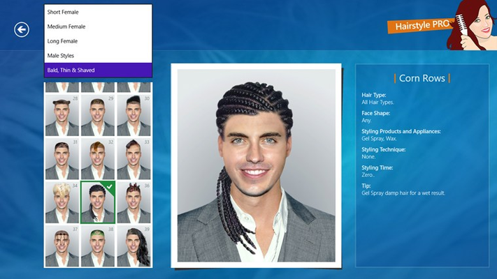 Five hairstyle categories are available. Three female categories and two male ones.