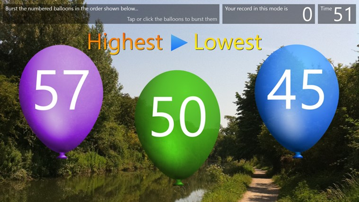 Balloon Burst: Pop the balloons in the order shown, low to high, or high to low.
