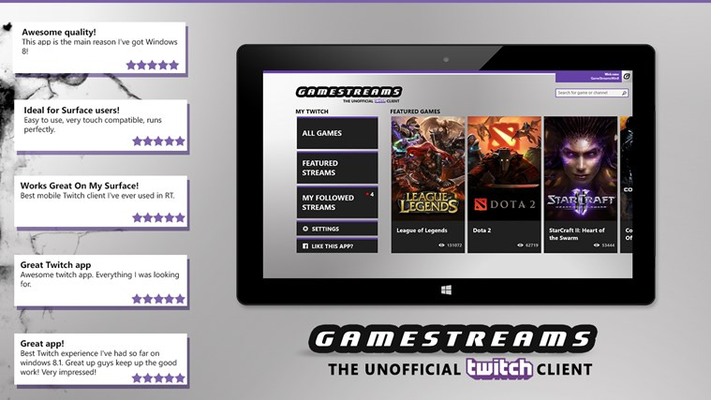 GameStreams the best rated unofficial Twitch.tv player app