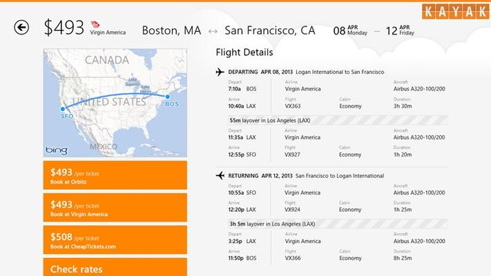 KAYAK Flights & Hotels for Windows 8