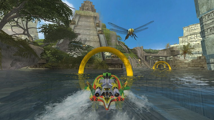 Single player game modes include 16-boat Races, the explosive Gauntlet, and (pictured here) Ring Master – the ultimate test of boating agility and skill.