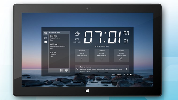 Clock with upcoming alarms, radio and media player, weather, world clocks, currency exchange and news feeds (graphically enhanced)