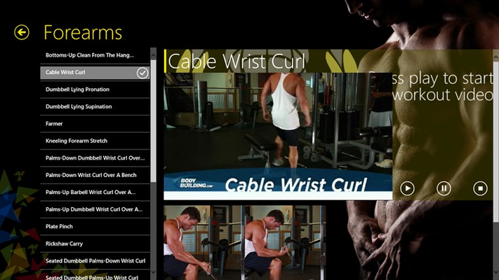 Video for exercise playing