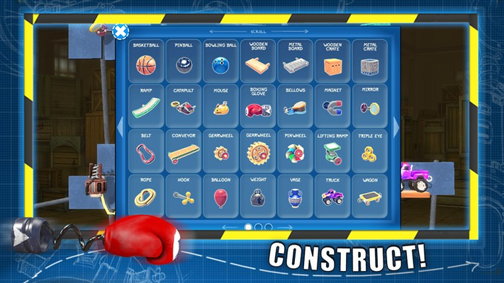 Choose your parts!  Check out the inventory for a wide array of parts and gadgets that you can use to make and solve puzzles!