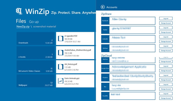 Easily manage your WinZip login credentials for Facebook, Twitter, LinkedIn SkyDrive, Box, Google Drive, Dropbox, CloudMe and ZipShare.