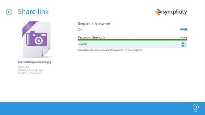 Securely share links with password protection and authenticated download